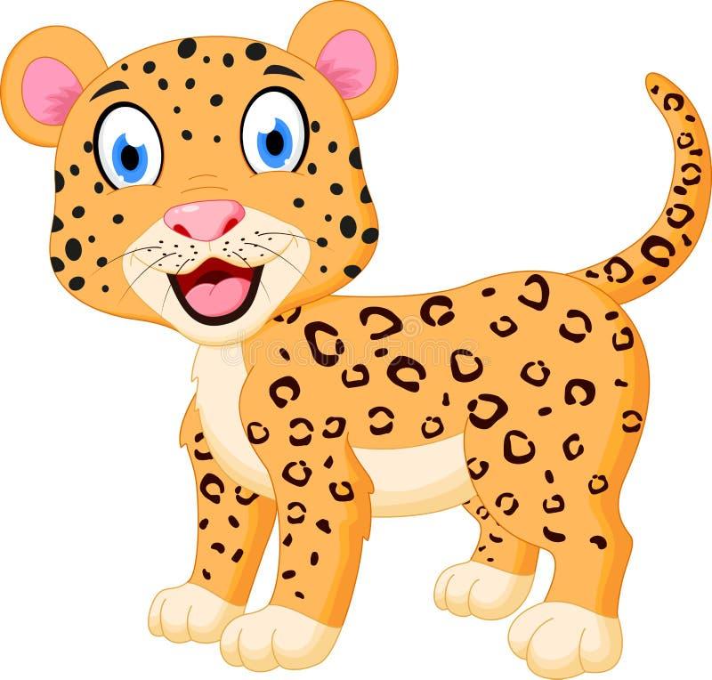 Bande dessinée mignonne de léopard illustration de vecteur