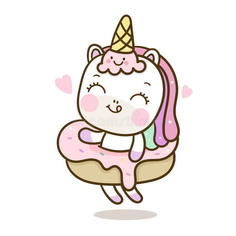 Bande dessinée mignonne de licorne avec le vecteur de glace et petit gâteau pour la couleur en pastel de joyeux anniversaire illustration de vecteur