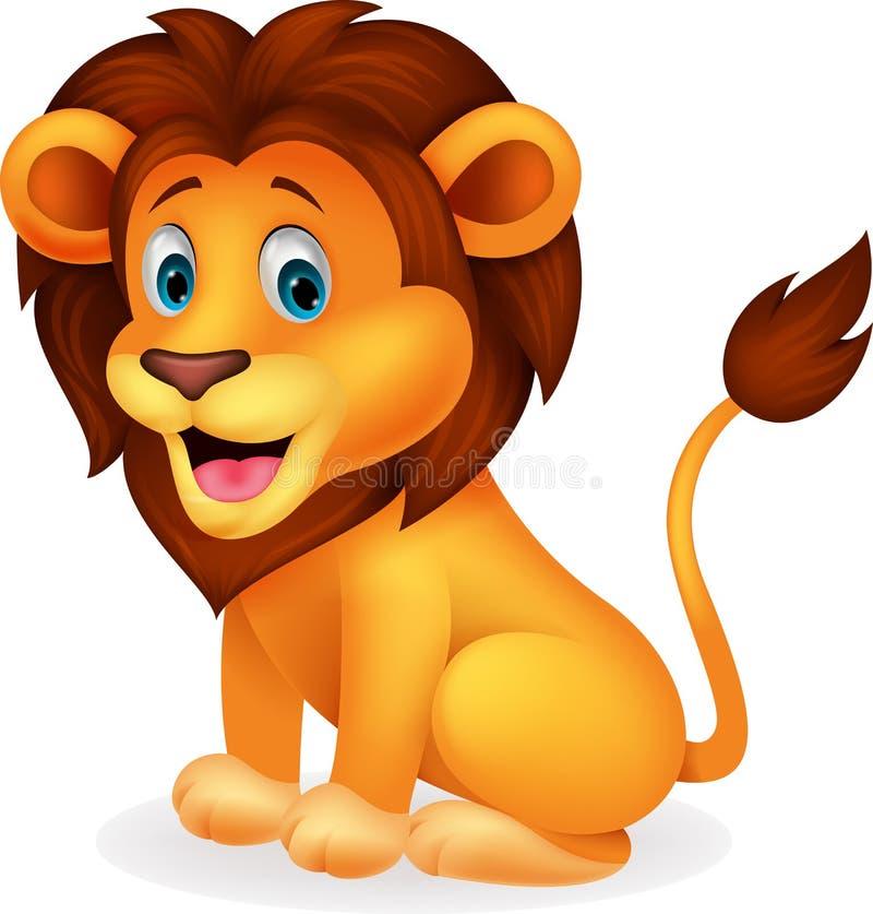 Bande dessinée mignonne de lion illustration de vecteur