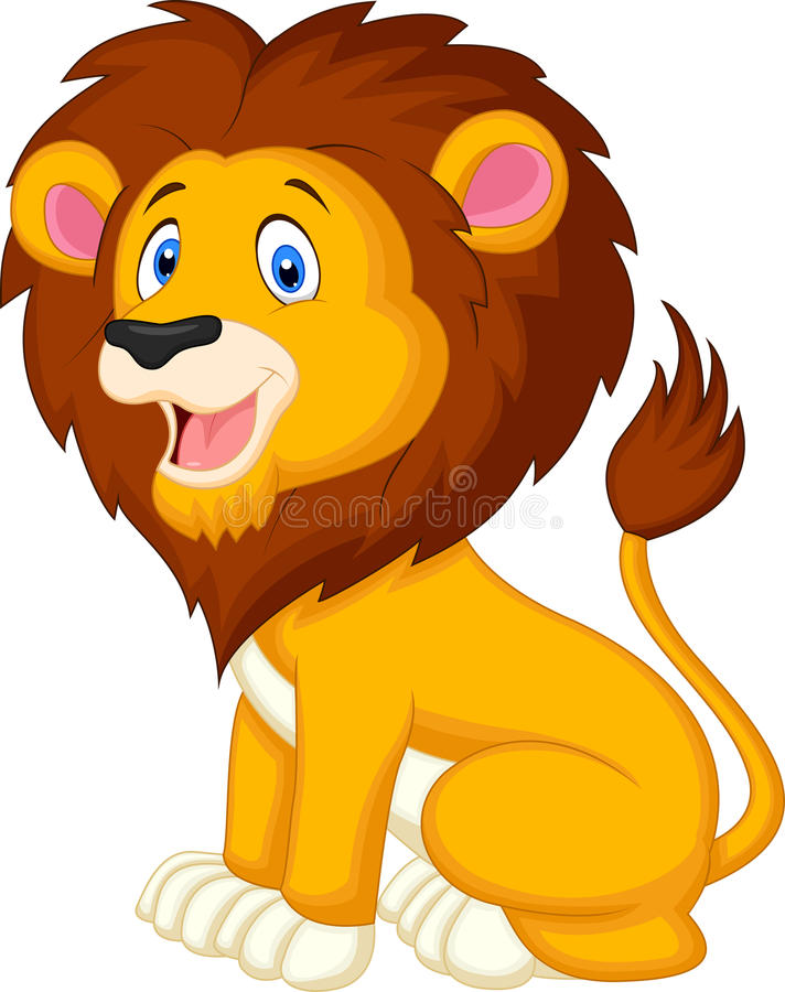 Bande dessinée mignonne de lion illustration libre de droits