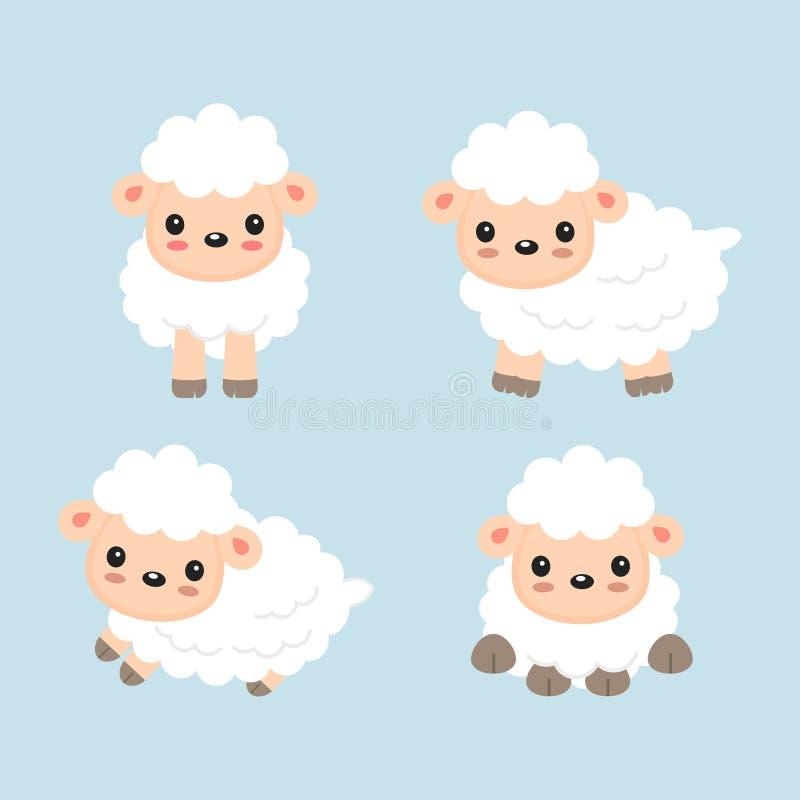 Bande dessinée mignonne de moutons Illustration de vecteur pour des enfants illustration libre de droits