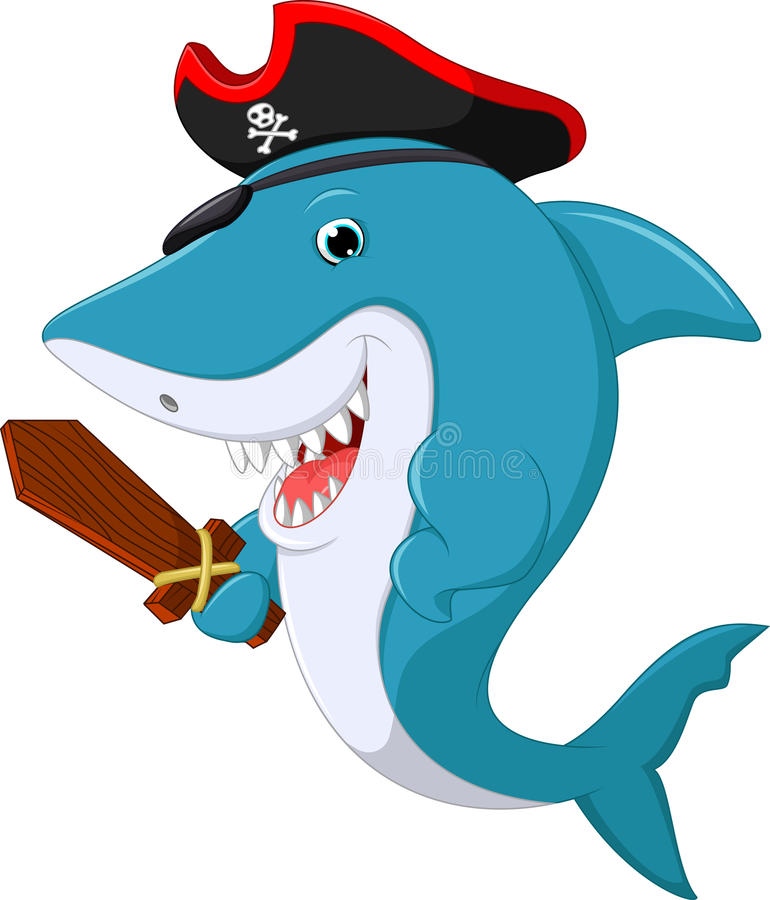 Bande dessinée mignonne de pirate de requin illustration de vecteur