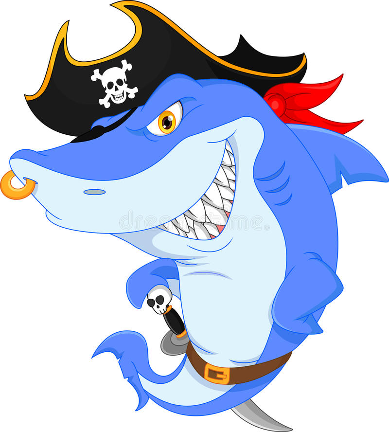 Bande dessinée mignonne de pirate de requin illustration stock