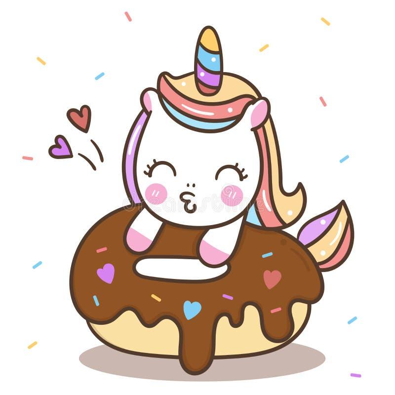Bande dessinée mignonne de poney de Kawaii de joyeux anniversaire de gâteau de beignet de vecteur de licorne illustration de vecteur