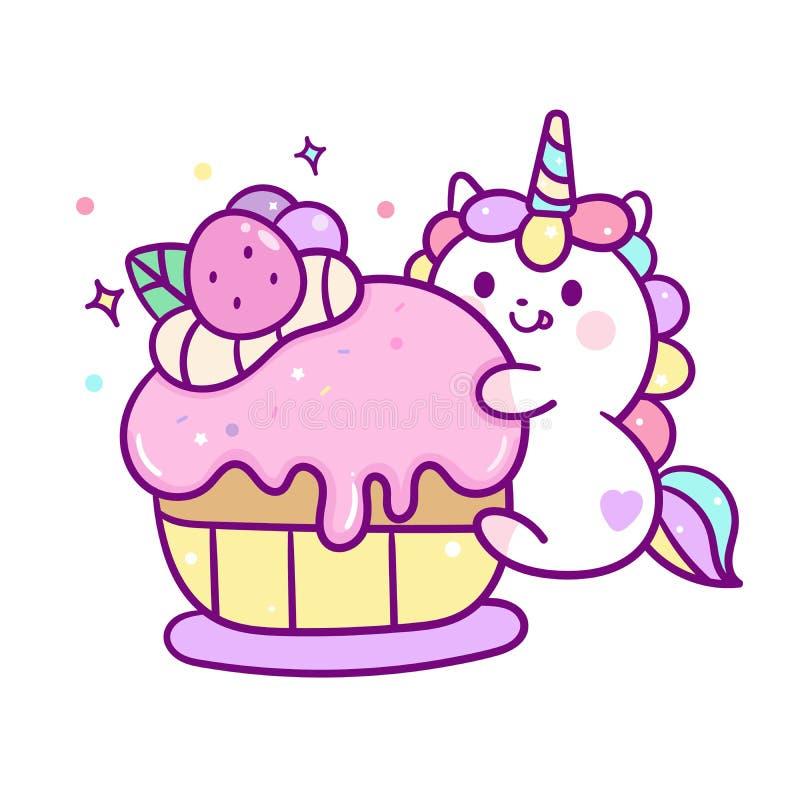 Bande dessinée mignonne de poney de Kawaii de joyeux anniversaire de gâteau de petit pain de vecteur de licorne, décoration de cr illustration stock