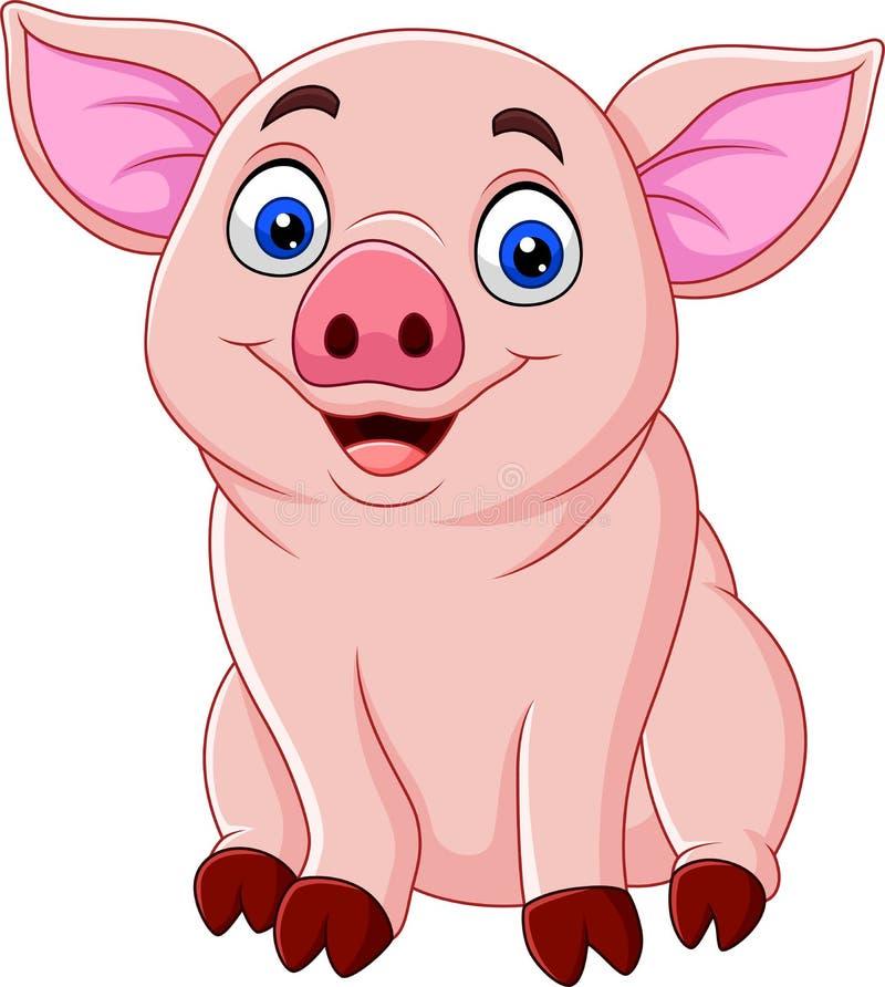 Bande dessinée mignonne de porc illustration de vecteur