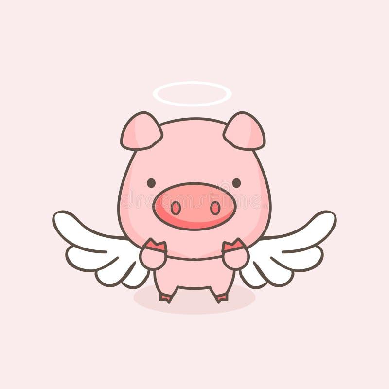 Bande dessinée mignonne de porc d'ange illustration libre de droits