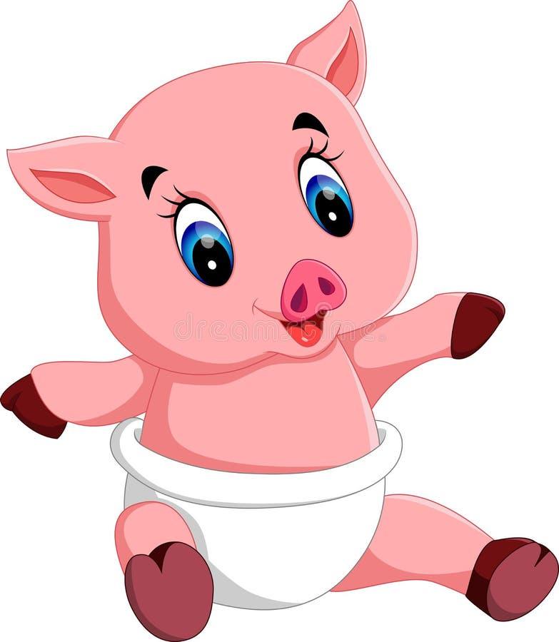 Bande dessinée mignonne de porc de bébé illustration de vecteur