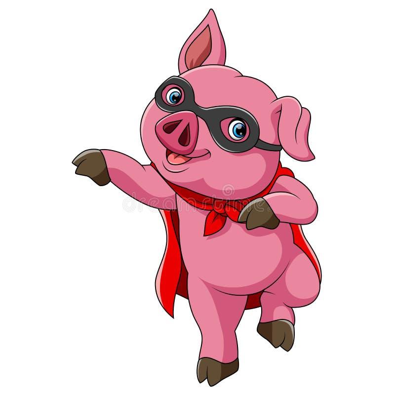 Bande dessinée mignonne de porc de super héros illustration libre de droits