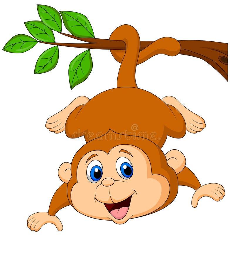 Bande dessinée mignonne de singe accrochant sur une branche d'arbre illustration stock
