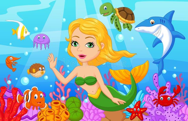 Bande dessinée mignonne de sirène avec l'ensemble de collection de poissons illustration libre de droits