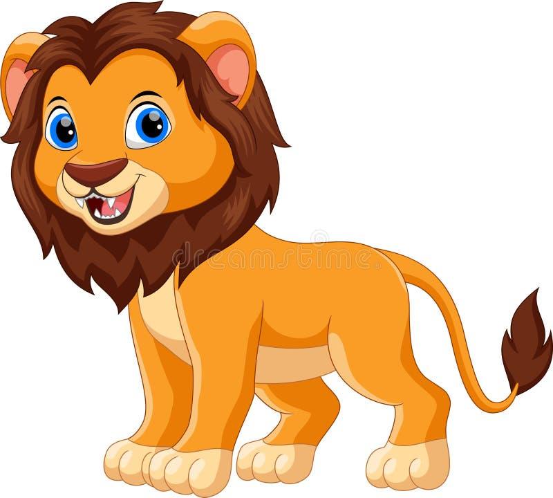 Bande dessinée mignonne de sourire de lion de bébé illustration de vecteur