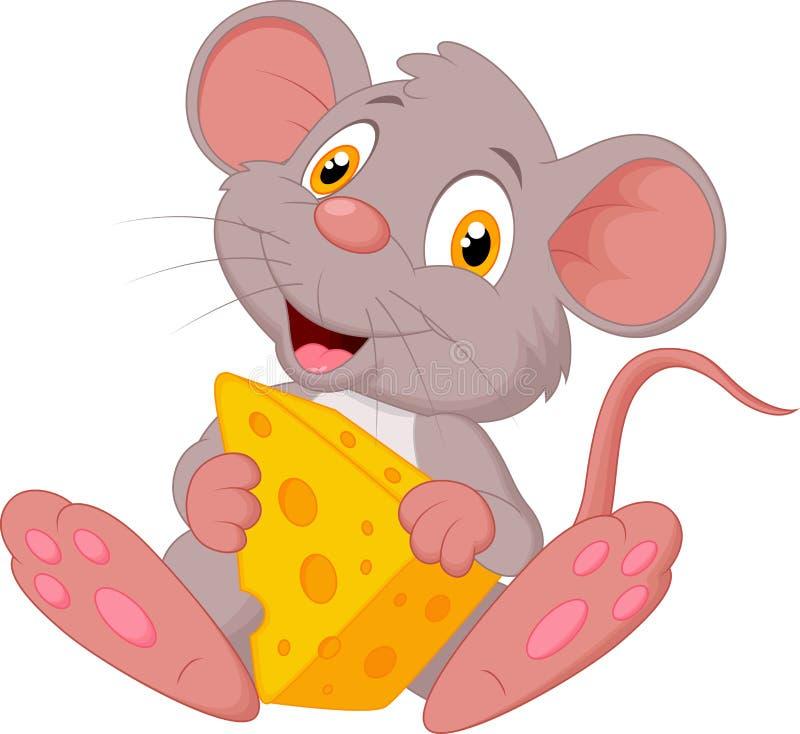 Bande dessinée mignonne de souris tenant le fromage illustration stock