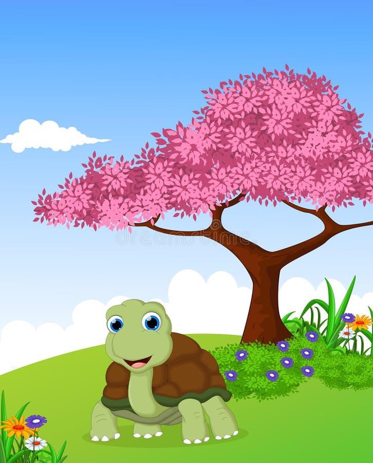 Bande dessinée mignonne de tortue avec le fond de paysage illustration libre de droits
