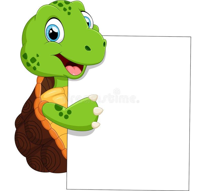 Bande dessinée mignonne de tortue avec le signe vide illustration de vecteur