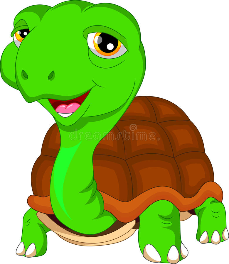 Bande dessinée mignonne de tortue verte illustration de vecteur