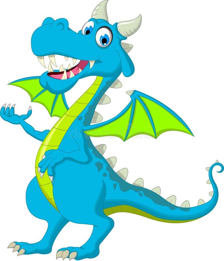 Bande dessinée mignonne de vol de dragon posant avec le support illustration de vecteur