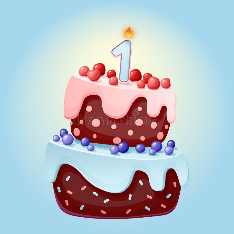 Bande dessinée mignonne gâteau de fête d'anniversaire de 1 an avec une bougie Biscuit de chocolat avec des baies, des cerises et  illustration de vecteur