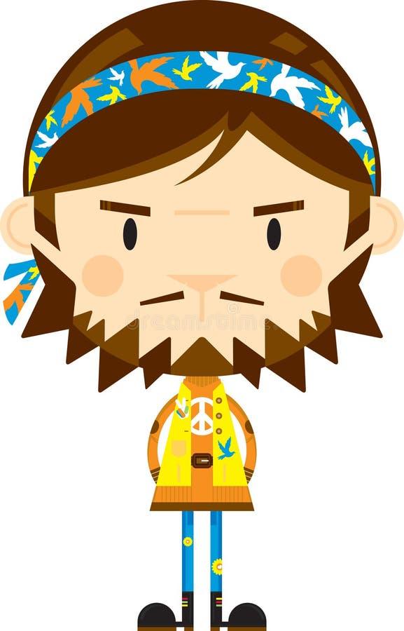 Bande dessinée mignonne hippie illustration stock