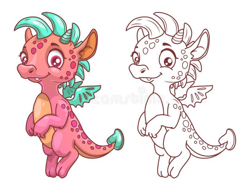 Bande dessinée mignonne peu de dragon illustration stock