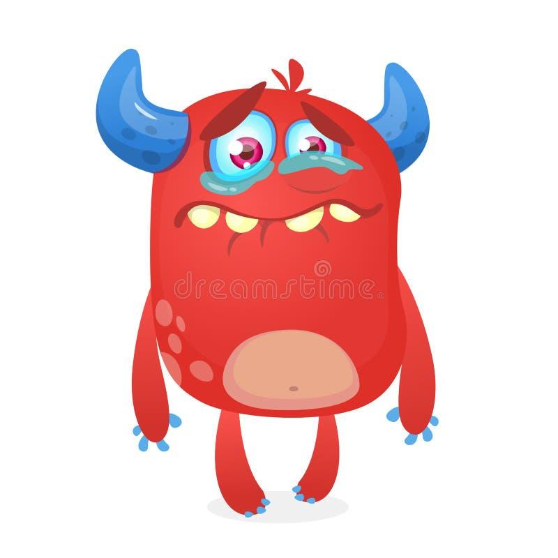 Bande dessinée mignonne pleurante de monstre Mascotte rose de caractère de monstre Illustration de vecteur pour Halloween illustration de vecteur