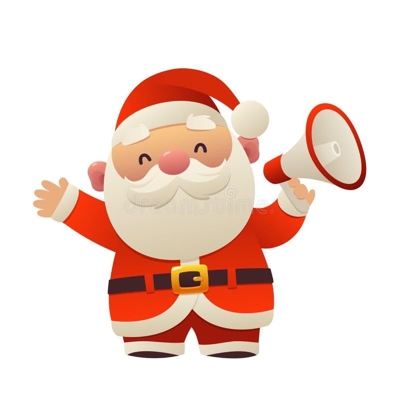 Bande dessinée mignonne Santa Claus avec le mégaphone sur le fond blanc illustration de vecteur