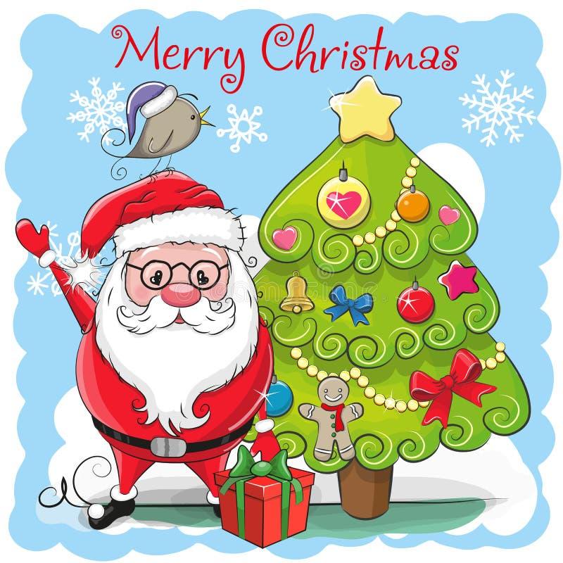Bande dessinée mignonne Santa Claus et un sapin illustration libre de droits