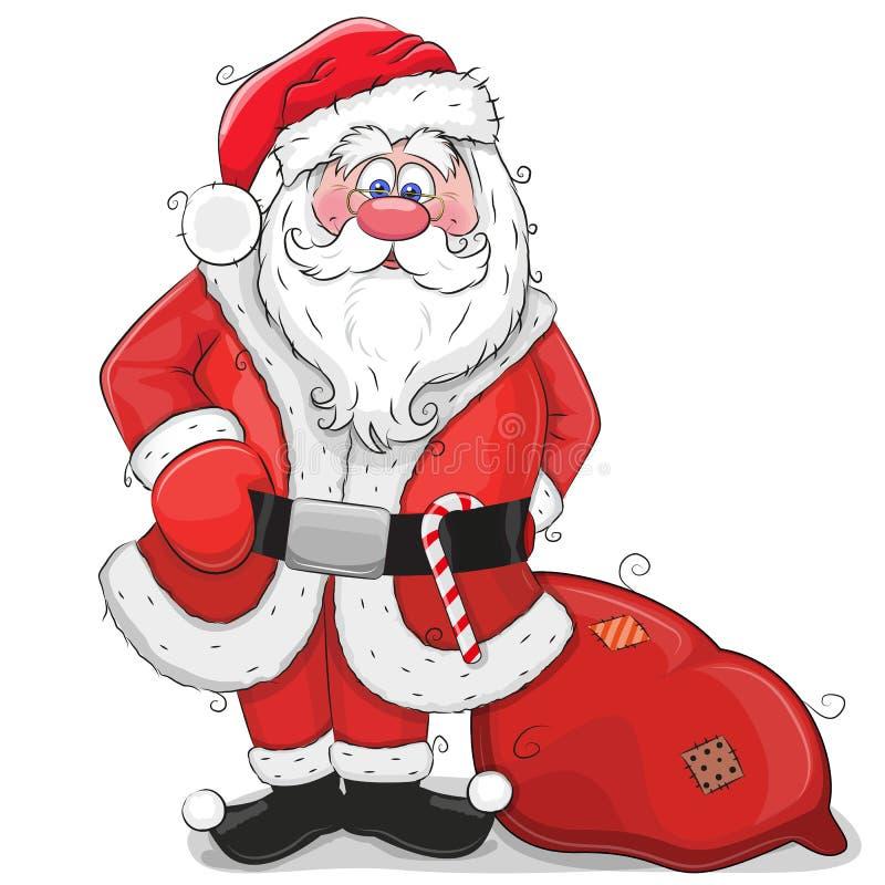 Bande dessinée mignonne Santa Claus sur un fond blanc illustration libre de droits