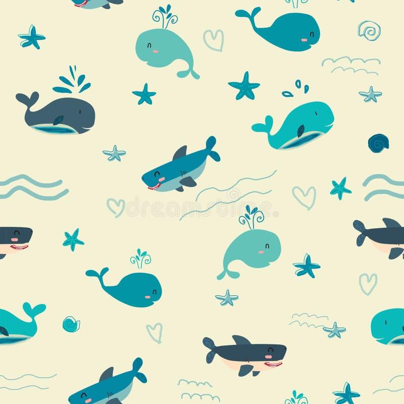 Bande dessinée mignonne sous le fond sans couture de modèle de faune de l'eau bleue illustration stock