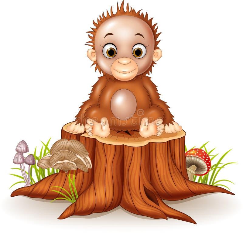 Bande dessinée mignonne un singe de bébé se reposant sur le tronçon d'arbre illustration de vecteur