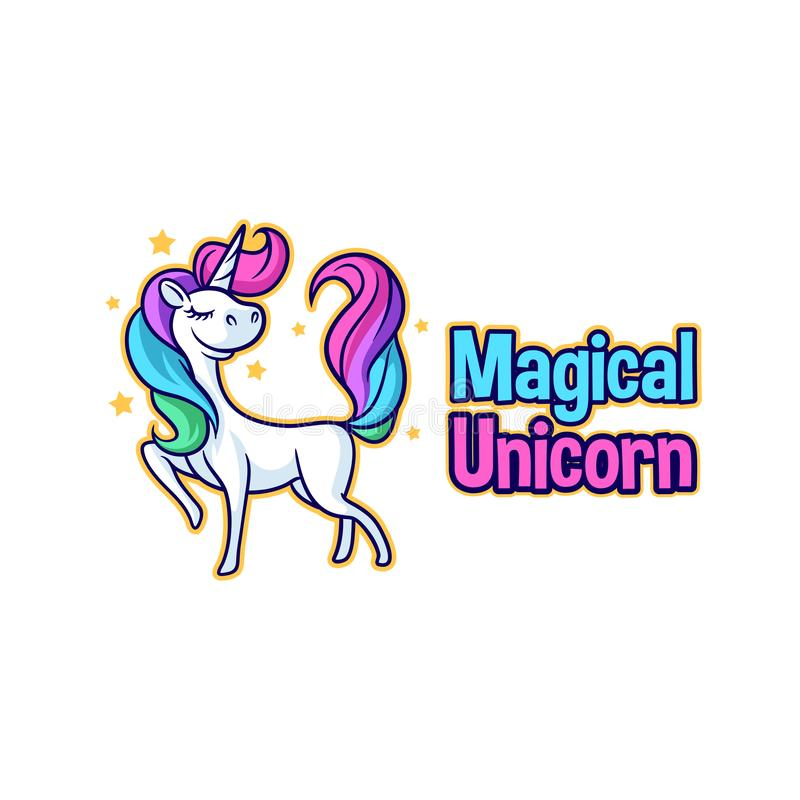 Bande dessinée mignonne Unicorn Character Mascot Logo illustration stock