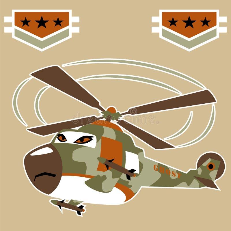 Bande dessinée militaire d'hélicoptère avec le missile illustration libre de droits