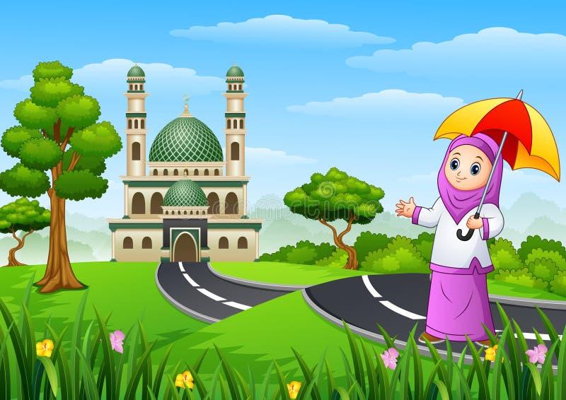 Bande dessinée musulmane de fille dans la rue à la mosquée illustration stock