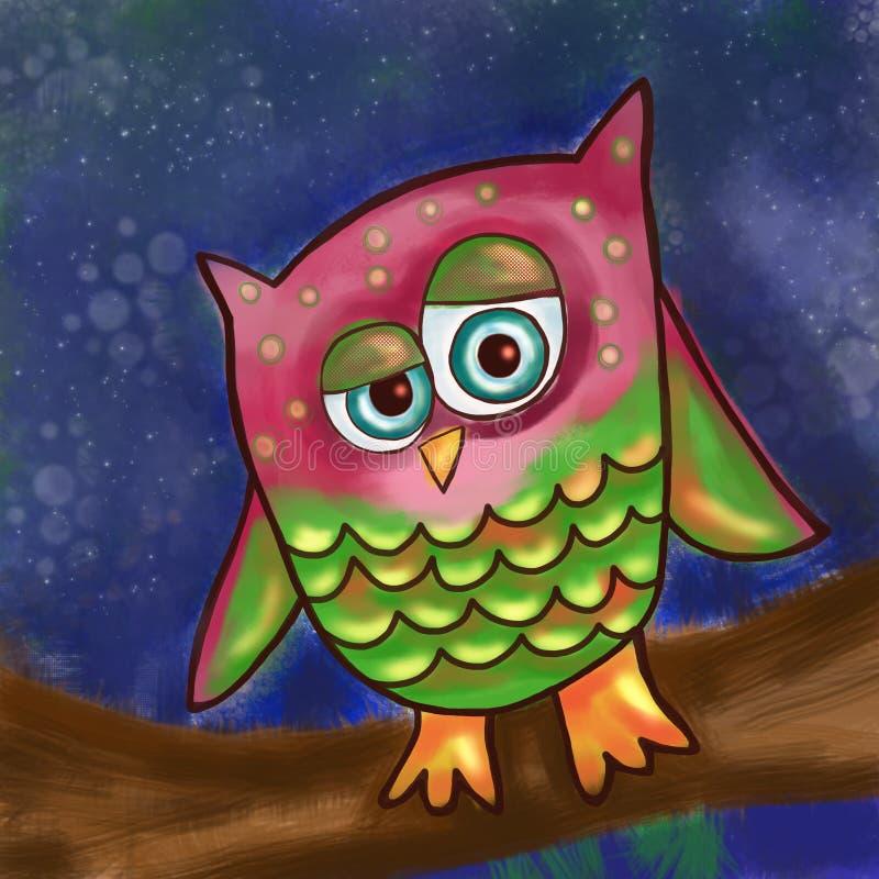 Bande dessinée Owl Painting illustration de vecteur