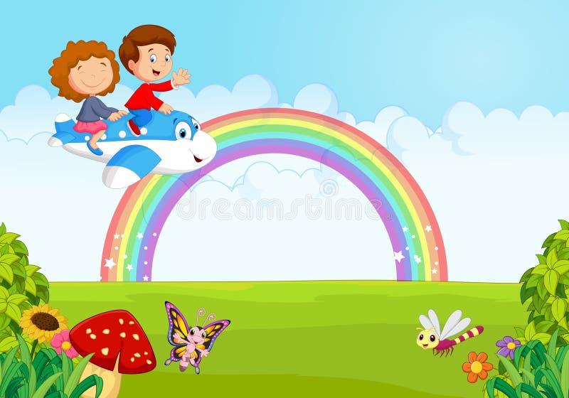 Bande dessinée peu d'enfant exploitant un avion avec l'arc-en-ciel illustration stock