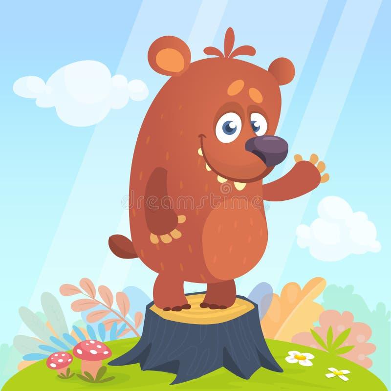 Bande dessinée peu d'ours se tenant sur le tronçon d'arbre à l'arrière-plan de saison d'été avec la fleur et les champignons Illu illustration libre de droits