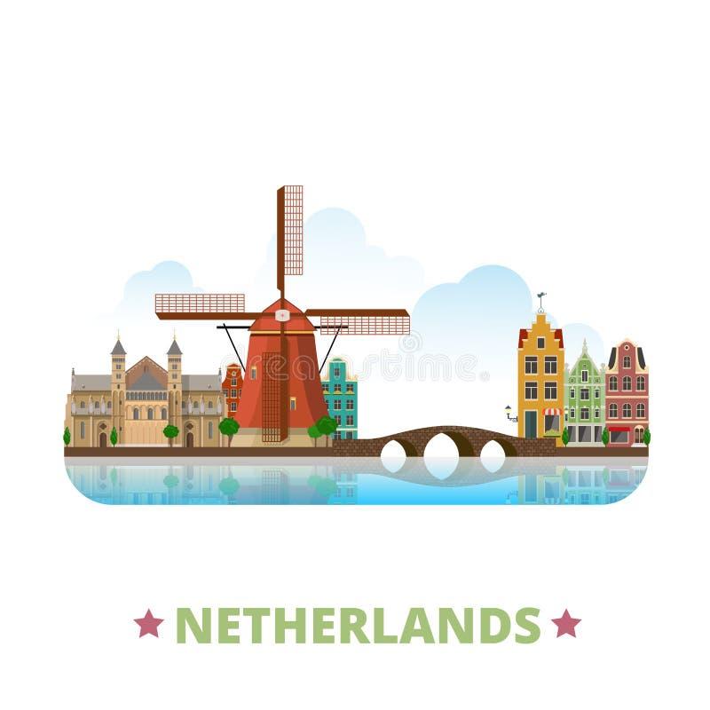 Bande dessinée plate s de pays de calibre néerlandais de conception illustration libre de droits