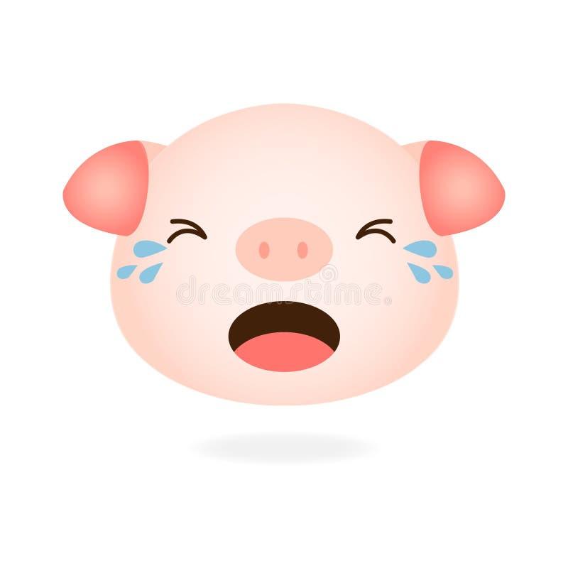 Bande dessinée pleurante de porc mignon illustration libre de droits