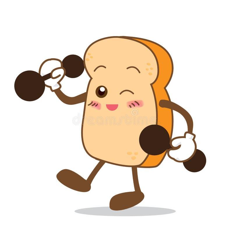 Bande dessinée plus forte de tranche de pain de sourire heureux d'isolement par Bread-08 illustration stock