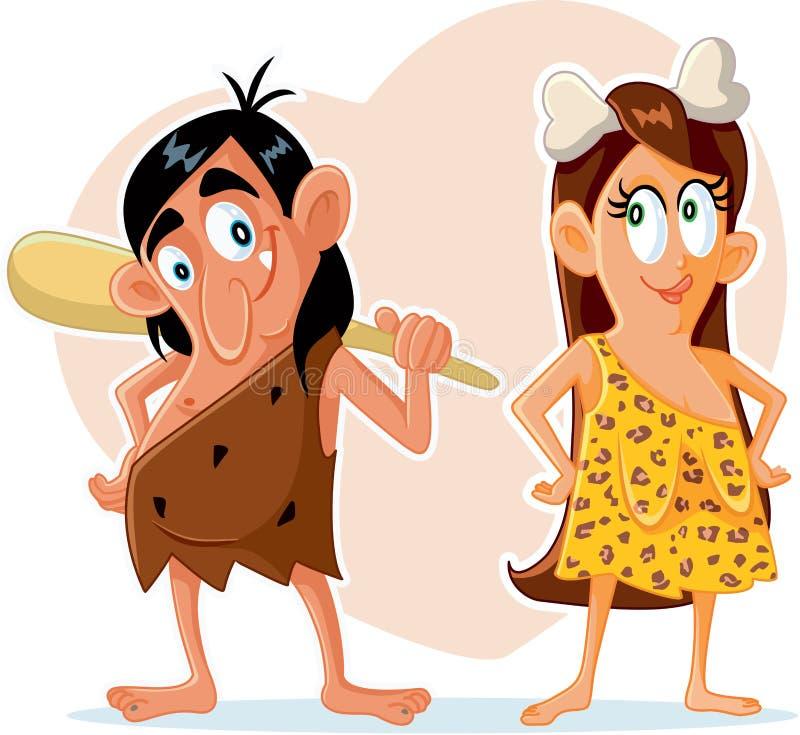 Bande dessinée préhistorique drôle de vecteur de couples illustration de vecteur