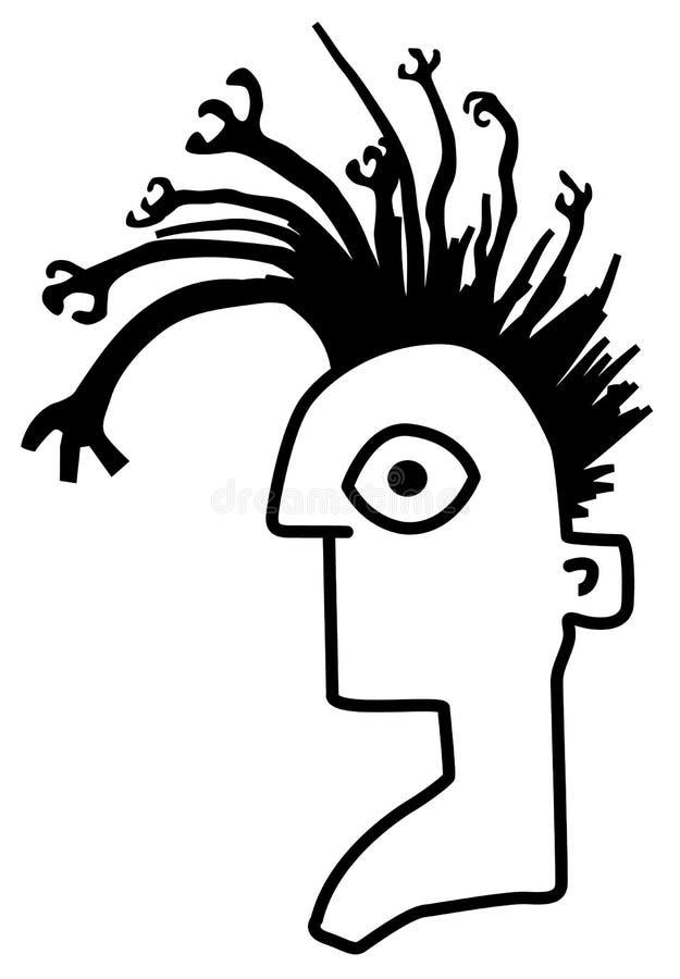 Bande dessinée principale de bras étranges de cheveux illustration libre de droits