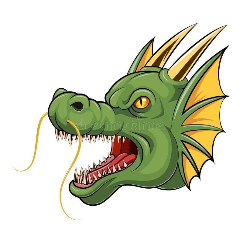 Bande dessinée principale de dragon de mascotte illustration de vecteur