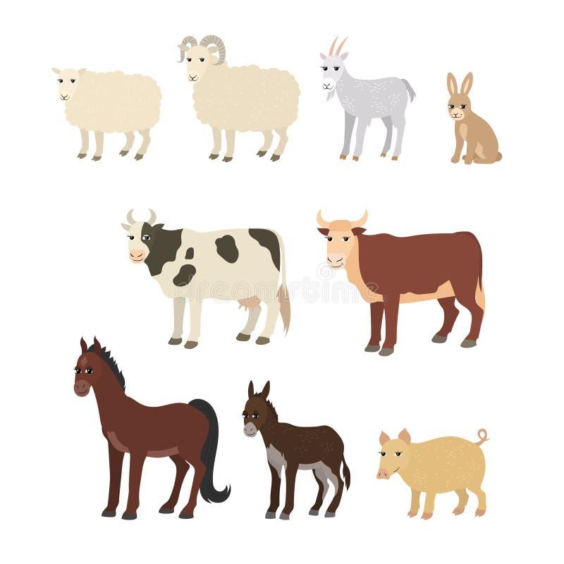 Bande dessinée réglée : lapin de porc de taureau de vache à cheval d'âne de chèvre de moutons illustration stock