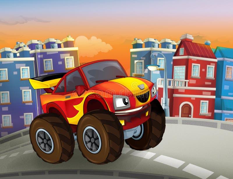 Bande dessinée rapide outre de la voiture de route ressemblant au camion de monstre conduisant par la ville images stock