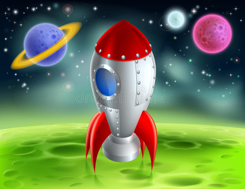 Bande dessinée Rocket On Alien Planet illustration stock