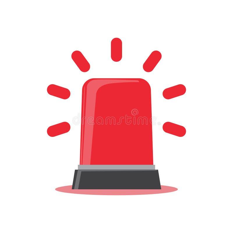 Bande dessinée rouge de lumière clignotante signe pour la police, l'ambulance, ou de sapeurs-pompiers sirène illustration libre de droits