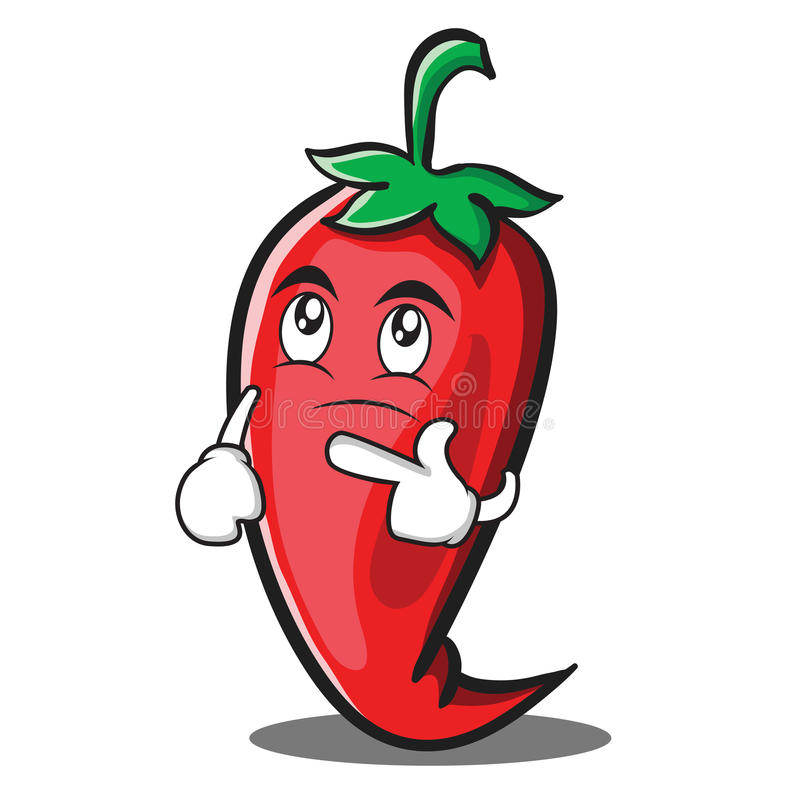 Bande dessinée rouge de pensée de caractère de piment illustration de vecteur