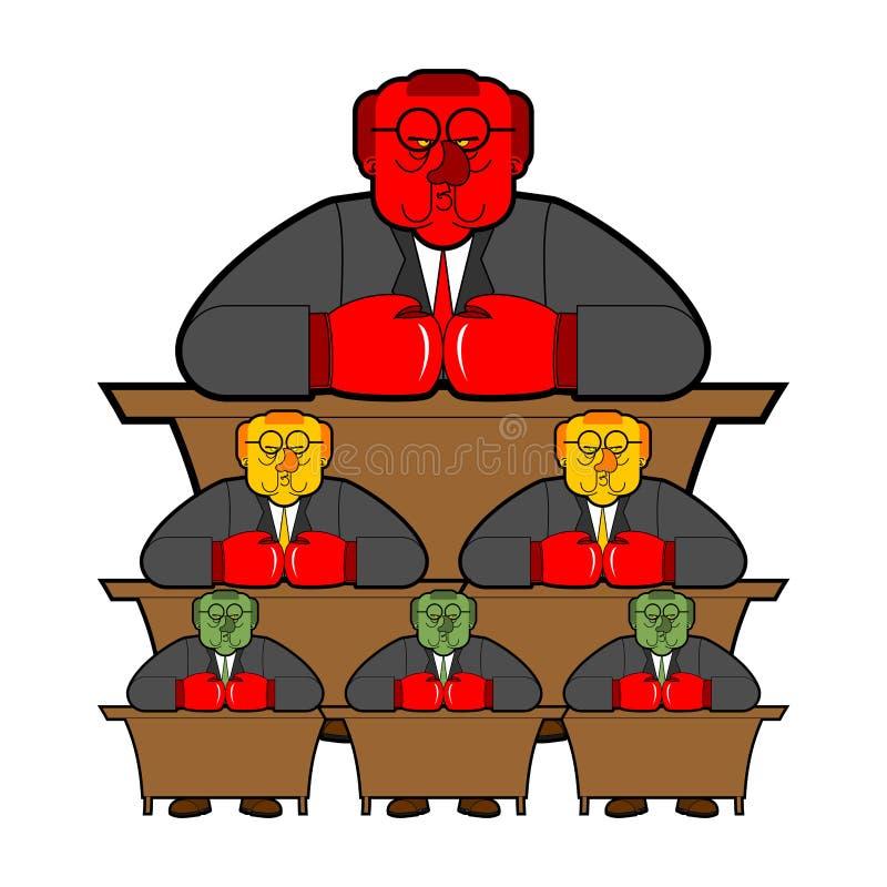 Bande dessinée s de fonctionnaire de fonctionnaires de gouvernement de système de bureaucratie illustration libre de droits