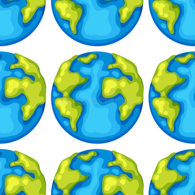 Bande dessinée sans couture de tuile de modèle avec la terre de planète illustration libre de droits