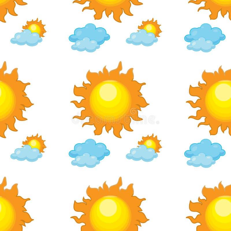 Bande dessinée sans couture de tuile de modèle avec le soleil et des nuages illustration de vecteur
